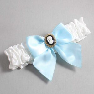 White and Alice Blue Wedding Garter / White Wedding Garters / Amy #01-B01-M15-112-White-305-Alice-Blue / Wedding Garters / Custom Wedding Garters / Bridal Garter / Prom Garter / Linda Joyce Couture