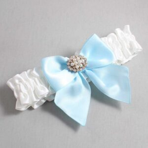 White and Alice Blue Wedding Garter / White Wedding Garters / Cynthia #01-B01-M16-112-White-305-Alice-Blue / Wedding Garters / Custom Wedding Garters / Bridal Garter / Prom Garter / Linda Joyce Couture