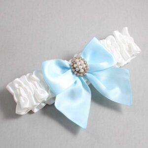 White and Alice Blue Wedding Garter / White Wedding Garters / Annie #01-B01-M17-112-White-305-Alice-Blue / Wedding Garters / Custom Wedding Garters / Bridal Garter / Prom Garter / Linda Joyce Couture