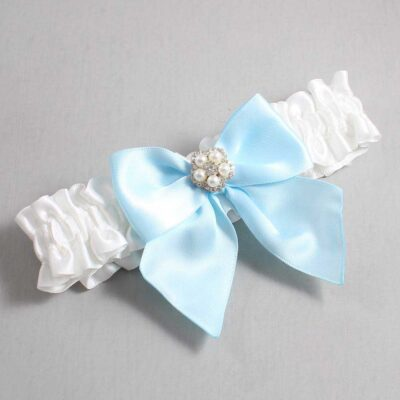 White and Alice Blue Wedding Garter / White Wedding Garters / Kourtney #01-B01-M20-112-White-305-Alice-Blue / Wedding Garters / Custom Wedding Garters / Bridal Garter / Prom Garter / Linda Joyce Couture