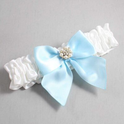 White and Alice Blue Wedding Garter / White Wedding Garters / Naomi #01-B01-M23-112-White-305-Alice-Blue / Wedding Garters / Custom Wedding Garters / Bridal Garter / Prom Garter / Linda Joyce Couture