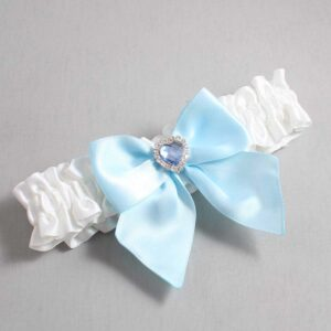 White and Alice Blue Wedding Garter / White Wedding Garters / Kittie #01-B01-M25-112-White-305-Alice-Blue / Wedding Garters / Custom Wedding Garters / Bridal Garter / Prom Garter / Linda Joyce Couture