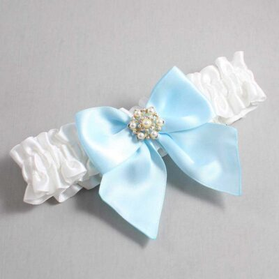 White and Alice Blue Wedding Garter / White Wedding Garters / Larissa #01-B01-M27-112-White-305-Alice-Blue / Wedding Garters / Custom Wedding Garters / Bridal Garter / Prom Garter / Linda Joyce Couture