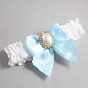 White and Alice Blue Wedding Garter / White Wedding Garters / Maggie #01-B01-M29-112-White-305-Alice-Blue / Wedding Garters / Custom Wedding Garters / Bridal Garter / Prom Garter / Linda Joyce Couture