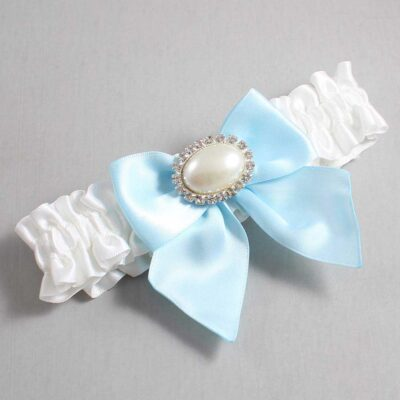 White and Alice Blue Wedding Garter / White Wedding Garters / Nicole #01-B01-M30-112-White-305-Alice-Blue / Wedding Garters / Custom Wedding Garters / Bridal Garter / Prom Garter / Linda Joyce Couture