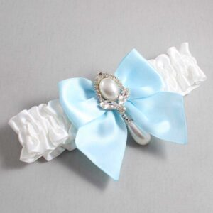 White and Alice Blue Wedding Garter / White Wedding Garters / Jessica #01-B01-M32-112-White-305-Alice-Blue / Wedding Garters / Custom Wedding Garters / Bridal Garter / Prom Garter / Linda Joyce Couture