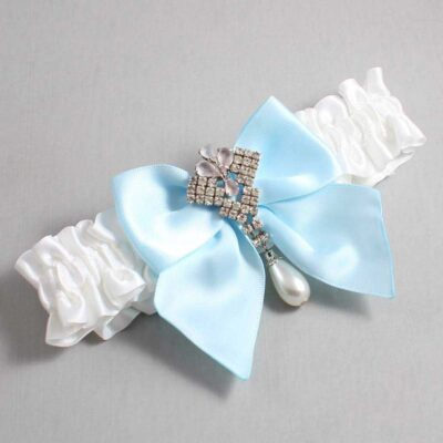 White and Alice Blue Wedding Garter / White Wedding Garters / Madeline #01-B01-M33-112-White-305-Alice-Blue / Wedding Garters / Custom Wedding Garters / Bridal Garter / Prom Garter / Linda Joyce Couture