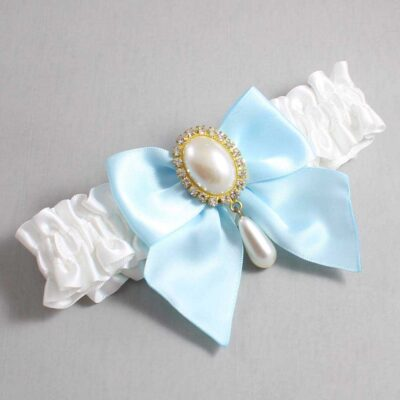 White and Alice Blue Wedding Garter / White Wedding Garters / Michaela #01-B01-M34-112-White-305-Alice-Blue / Wedding Garters / Custom Wedding Garters / Bridal Garter / Prom Garter / Linda Joyce Couture