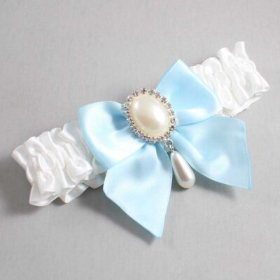 White and Alice Blue Wedding Garter / White Wedding Garters / Michaela #01-B01-M35-112-White-305-Alice-Blue / Wedding Garters / Custom Wedding Garters / Bridal Garter / Prom Garter / Linda Joyce Couture