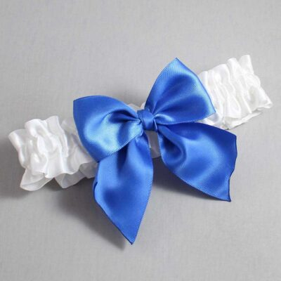 White and Royal Blue Wedding Garter / White Wedding Garters / Kimberly #01-B01-00-112-White-350-Royal-Blue / Wedding Garters / Custom Wedding Garters / Bridal Garter / Prom Garter / Linda Joyce Couture