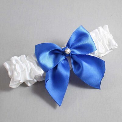 White and Royal Blue Wedding Garter / White Wedding Garters / Pamela #01-B01-M04-112-White-350-Royal-Blue / Wedding Garters / Custom Wedding Garters / Bridal Garter / Prom Garter / Linda Joyce Couture