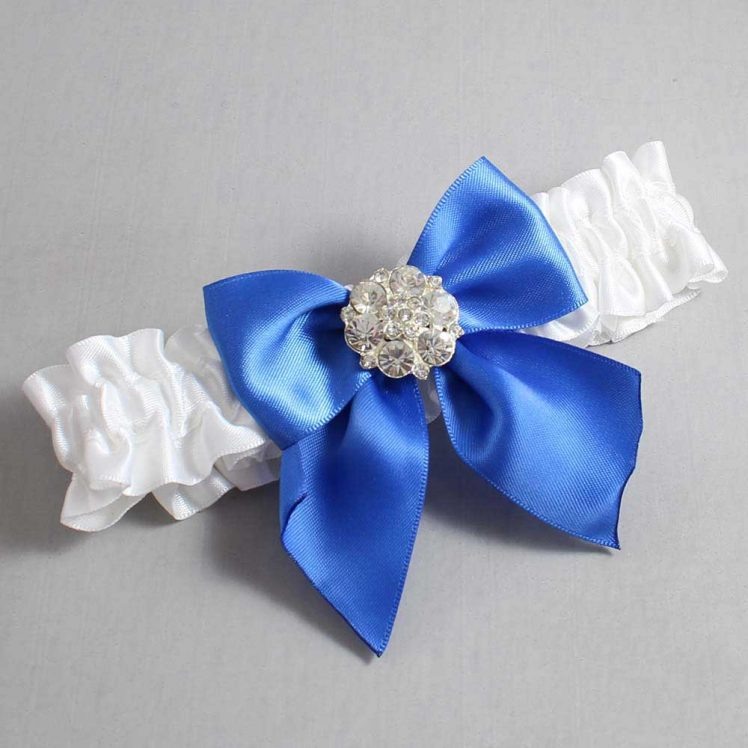 White and Royal Blue Wedding Garter / White Wedding Garters / Elizabeth #01-B01-M11-112-White-350-Royal-Blue / Wedding Garters / Custom Wedding Garters / Bridal Garter / Prom Garter / Linda Joyce Couture