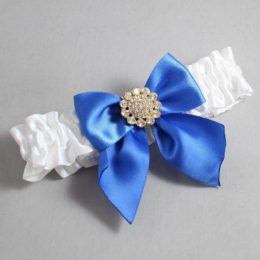 White and Royal Blue Wedding Garter / White Wedding Garters / Penny #01-B01-M12-112-White-350-Royal-Blue / Wedding Garters / Custom Wedding Garters / Bridal Garter / Prom Garter / Linda Joyce Couture
