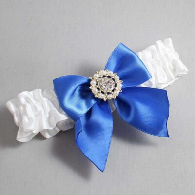 White and Royal Blue Wedding Garter / White Wedding Garters / Adelle #01-B01-M14-112-White-350-Royal-Blue / Wedding Garters / Custom Wedding Garters / Bridal Garter / Prom Garter / Linda Joyce Couture