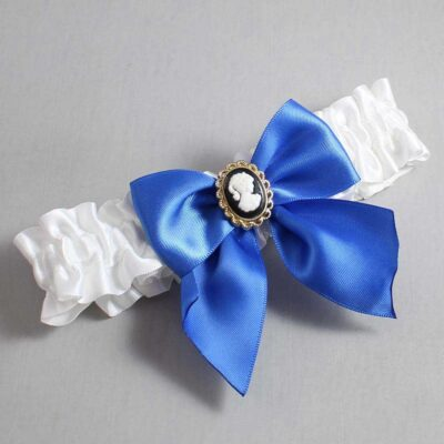 White and Royal Blue Wedding Garter / White Wedding Garters / Amy #01-B01-M15-112-White-350-Royal-Blue / Wedding Garters / Custom Wedding Garters / Bridal Garter / Prom Garter / Linda Joyce Couture
