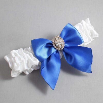 White and Royal Blue Wedding Garter / White Wedding Garters / Annie #01-B01-M17-112-White-350-Royal-Blue / Wedding Garters / Custom Wedding Garters / Bridal Garter / Prom Garter / Linda Joyce Couture
