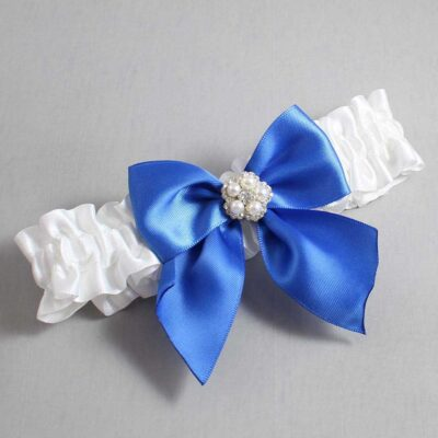 White and Royal Blue Wedding Garter / White Wedding Garters / Kourtney #01-B01-M20-112-White-350-Royal-Blue / Wedding Garters / Custom Wedding Garters / Bridal Garter / Prom Garter / Linda Joyce Couture