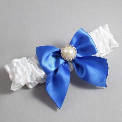 White and Royal Blue Wedding Garter / White Wedding Garters / Paige #01-B01-M21-112-White-350-Royal-Blue / Wedding Garters / Custom Wedding Garters / Bridal Garter / Prom Garter / Linda Joyce Couture