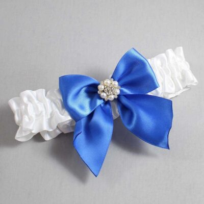 White and Royal Blue Wedding Garter / White Wedding Garters / Naomi #01-B01-M23-112-White-350-Royal-Blue / Wedding Garters / Custom Wedding Garters / Bridal Garter / Prom Garter / Linda Joyce Couture