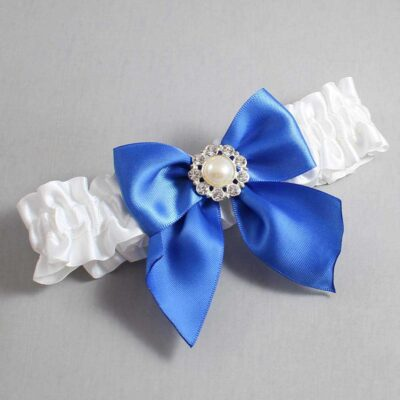 White and Royal Blue Wedding Garter / White Wedding Garters / Amanda #01-B01-M24-112-White-350-Royal-Blue / Wedding Garters / Custom Wedding Garters / Bridal Garter / Prom Garter / Linda Joyce Couture