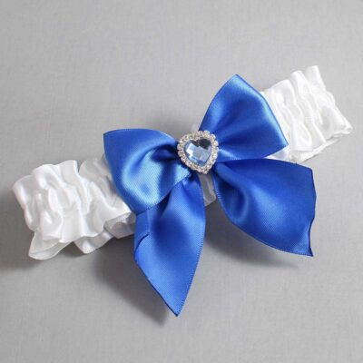 White and Royal Blue Wedding Garter / White Wedding Garters / Kittie #01-B01-M25-112-White-350-Royal-Blue / Wedding Garters / Custom Wedding Garters / Bridal Garter / Prom Garter / Linda Joyce Couture