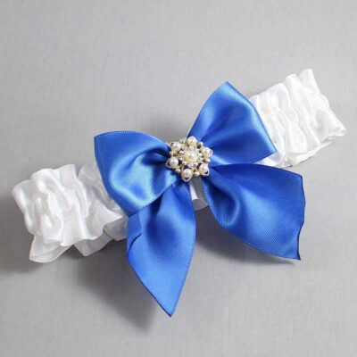 White and Royal Blue Wedding Garter / White Wedding Garters / Larissa #01-B01-M27-112-White-350-Royal-Blue / Wedding Garters / Custom Wedding Garters / Bridal Garter / Prom Garter / Linda Joyce Couture