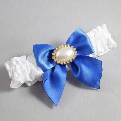 White and Royal Blue Wedding Garter / White Wedding Garters / Nicole #01-B01-M28-112-White-350-Royal-Blue / Wedding Garters / Custom Wedding Garters / Bridal Garter / Prom Garter / Linda Joyce Couture