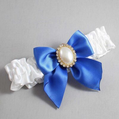 White and Royal Blue Wedding Garter / White Wedding Garters / Maggie #01-B01-M29-112-White-350-Royal-Blue / Wedding Garters / Custom Wedding Garters / Bridal Garter / Prom Garter / Linda Joyce Couture