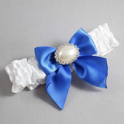 White and Royal Blue Wedding Garter / White Wedding Garters / Nicole #01-B01-M30-112-White-350-Royal-Blue / Wedding Garters / Custom Wedding Garters / Bridal Garter / Prom Garter / Linda Joyce Couture
