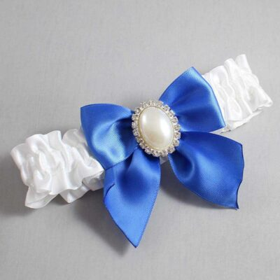 White and Royal Blue Wedding Garter / White Wedding Garters / Maggie #01-B01-M31-112-White-350-Royal-Blue / Wedding Garters / Custom Wedding Garters / Bridal Garter / Prom Garter / Linda Joyce Couture
