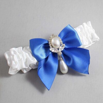 White and Royal Blue Wedding Garter / White Wedding Garters / Jessica #01-B01-M32-112-White-350-Royal-Blue / Wedding Garters / Custom Wedding Garters / Bridal Garter / Prom Garter / Linda Joyce Couture