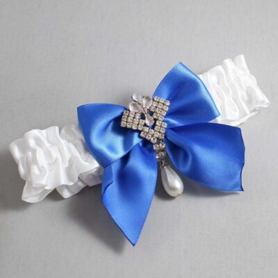 White and Royal Blue Wedding Garter / White Wedding Garters / Madeline #01-B01-M33-112-White-350-Royal-Blue / Wedding Garters / Custom Wedding Garters / Bridal Garter / Prom Garter / Linda Joyce Couture