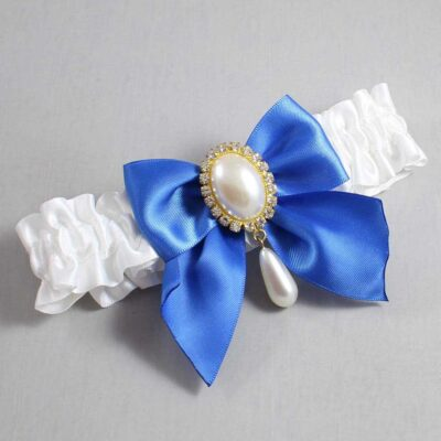 White and Royal Blue Wedding Garter / White Wedding Garters / Michaela #01-B01-M34-112-White-350-Royal-Blue / Wedding Garters / Custom Wedding Garters / Bridal Garter / Prom Garter / Linda Joyce Couture