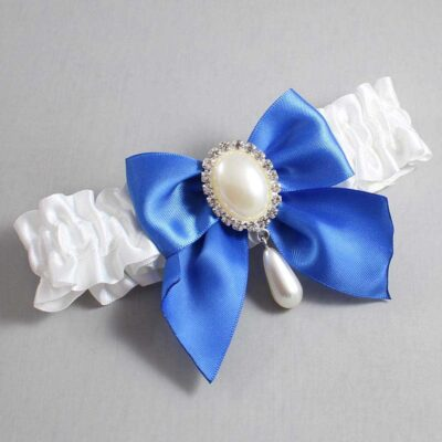 White and Royal Blue Wedding Garter / White Wedding Garters / Michaela #01-B01-M35-112-White-350-Royal-Blue / Wedding Garters / Custom Wedding Garters / Bridal Garter / Prom Garter / Linda Joyce Couture