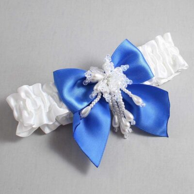 White and Royal Blue Wedding Garter / White Wedding Garters / Daphne #01-B01-M38-112-White-350-Royal-Blue / Wedding Garters / Custom Wedding Garters / Bridal Garter / Prom Garter / Linda Joyce Couture