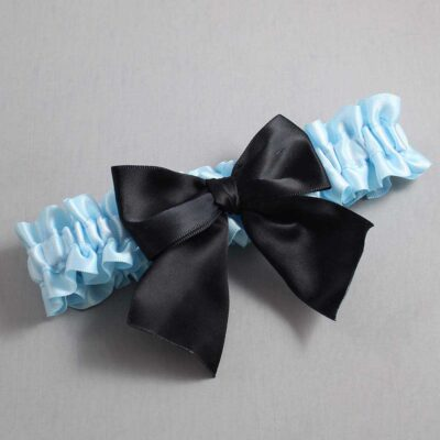 Alice Blue and Black Wedding Garter / Blue Wedding Garters / Kimberly #01-B01-00-305-Alice-Blue-123-Black / Wedding Garters / Custom Wedding Garters / Bridal Garter / Prom Garter / Linda Joyce Couture
