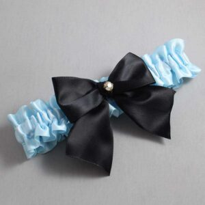 Alice Blue and Black Wedding Garter / Blue Wedding Garters / Pamela #01-B01-M03-305-Alice-Blue-123-Black / Wedding Garters / Custom Wedding Garters / Bridal Garter / Prom Garter / Linda Joyce Couture