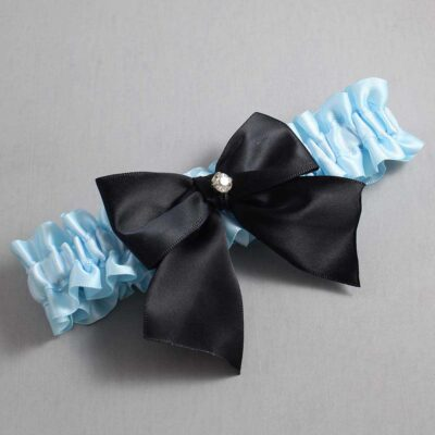 Alice Blue and Black Wedding Garter / Blue Wedding Garters / Pamela #01-B01-M04-305-Alice-Blue-123-Black / Wedding Garters / Custom Wedding Garters / Bridal Garter / Prom Garter / Linda Joyce Couture