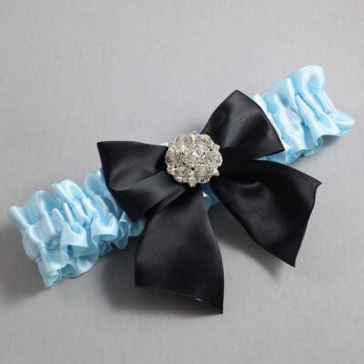 Alice Blue and Black Wedding Garter / Blue Wedding Garters / Elizabeth #01-B01-M11-305-Alice-Blue-123-Black / Wedding Garters / Custom Wedding Garters / Bridal Garter / Prom Garter / Linda Joyce Couture