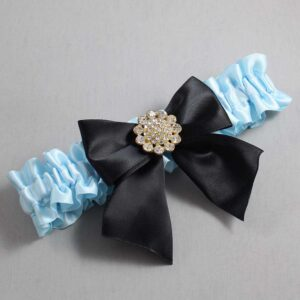 Alice Blue and Black Wedding Garter / Blue Wedding Garters / Penny #01-B01-M12-305-Alice-Blue-123-Black / Wedding Garters / Custom Wedding Garters / Bridal Garter / Prom Garter / Linda Joyce Couture