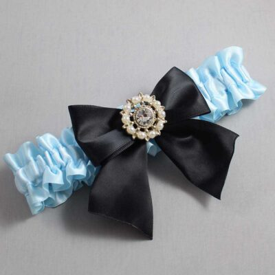 Alice Blue and Black Wedding Garter / Blue Wedding Garters / Adelle #01-B01-M14-305-Alice-Blue-123-Black / Wedding Garters / Custom Wedding Garters / Bridal Garter / Prom Garter / Linda Joyce Couture
