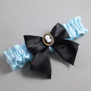 Alice Blue and Black Wedding Garter / Blue Wedding Garters / Amy #01-B01-M15-305-Alice-Blue-123-Black / Wedding Garters / Custom Wedding Garters / Bridal Garter / Prom Garter / Linda Joyce Couture