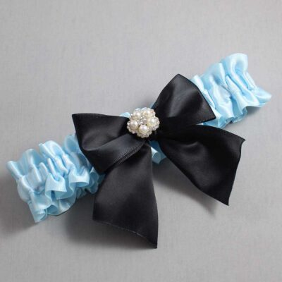 Alice Blue and Black Wedding Garter / Blue Wedding Garters / Kourtney #01-B01-M20-305-Alice-Blue-123-Black / Wedding Garters / Custom Wedding Garters / Bridal Garter / Prom Garter / Linda Joyce Couture