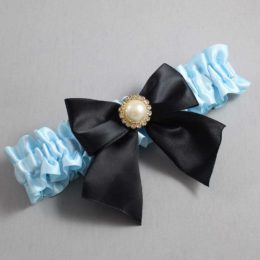 Alice Blue and Black Wedding Garter / Blue Wedding Garters / Paige #01-B01-M21-305-Alice-Blue-123-Black / Wedding Garters / Custom Wedding Garters / Bridal Garter / Prom Garter / Linda Joyce Couture