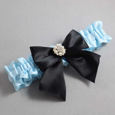 Alice Blue and Black Wedding Garter / Blue Wedding Garters / Naomi #01-B01-M23-305-Alice-Blue-123-Black / Wedding Garters / Custom Wedding Garters / Bridal Garter / Prom Garter / Linda Joyce Couture