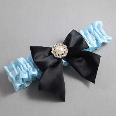 Alice Blue and Black Wedding Garter / Blue Wedding Garters / Amanda #01-B01-M24-305-Alice-Blue-123-Black / Wedding Garters / Custom Wedding Garters / Bridal Garter / Prom Garter / Linda Joyce Couture