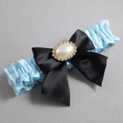 Alice Blue and Black Wedding Garter / Blue Wedding Garters / Nicole #01-B01-M28-305-Alice-Blue-123-Black / Wedding Garters / Custom Wedding Garters / Bridal Garter / Prom Garter / Linda Joyce Couture