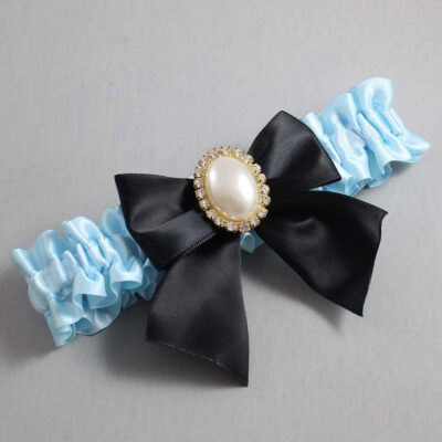 Alice Blue and Black Wedding Garter / Blue Wedding Garters / Maggie #01-B01-M29-305-Alice-Blue-123-Black / Wedding Garters / Custom Wedding Garters / Bridal Garter / Prom Garter / Linda Joyce Couture