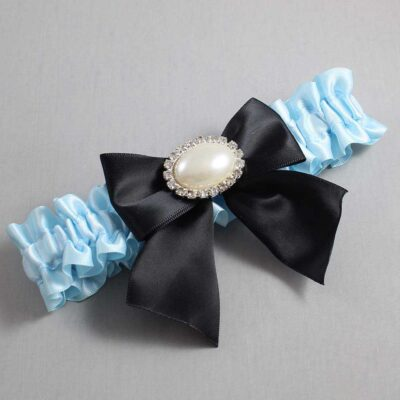 Alice Blue and Black Wedding Garter / Blue Wedding Garters / Nicole #01-B01-M30-305-Alice-Blue-123-Black / Wedding Garters / Custom Wedding Garters / Bridal Garter / Prom Garter / Linda Joyce Couture