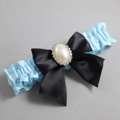 Alice Blue and Black Wedding Garter / Blue Wedding Garters / Maggie #01-B01-M31-305-Alice-Blue-123-Black / Wedding Garters / Custom Wedding Garters / Bridal Garter / Prom Garter / Linda Joyce Couture